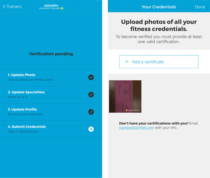 Workout Trainer by Skimble: Verified Trainer: Submit Training Certifications