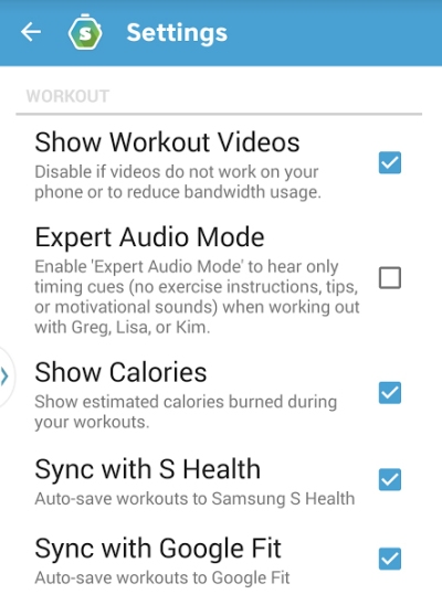 Skimble Workout Trainer - Sync with Android Health Aggregators Google Fit and S Health