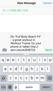 Skimble's Workout Trainer: Social Sharing via Email - Text Message