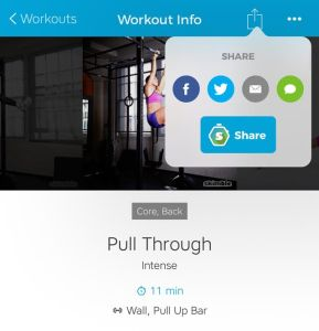 Skimble's Workout Trainer: Social Sharing in App