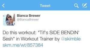 Skimble's Workout Trainer: Social Sharing on Twitter