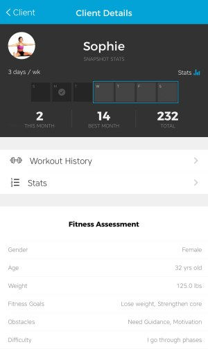 Workout Trainer by Skimble: Online Personal Training: Client Details