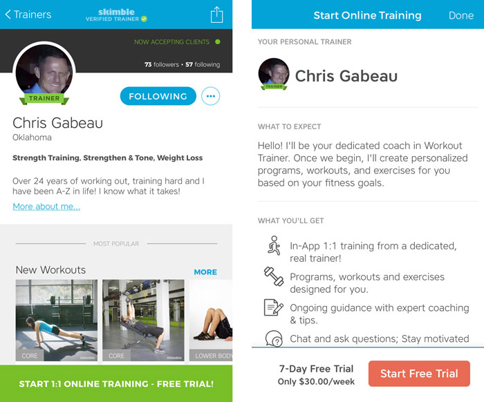 Workout Trainer by Skimble: Online Personal Training: Free Trial