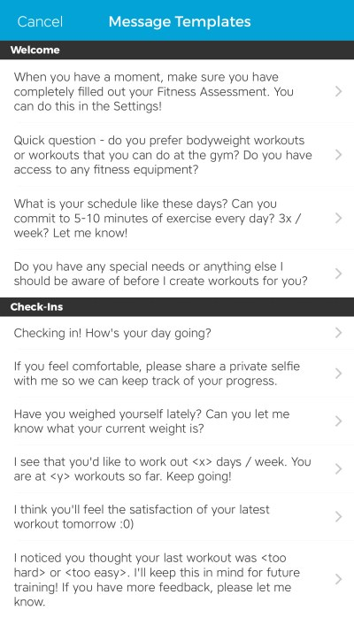 Workout Trainer by Skimble: Client Check-Ins: Message Templates