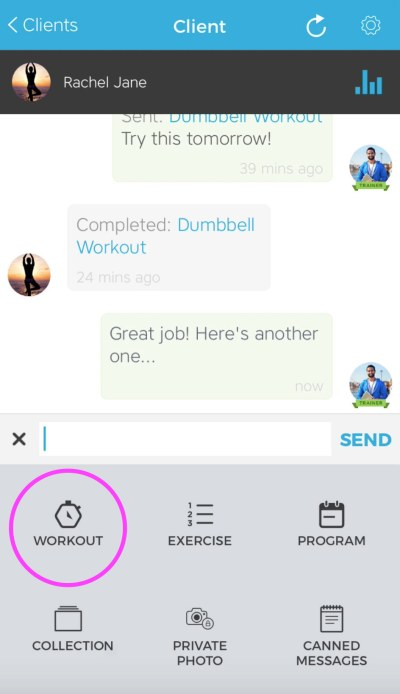 Workout Trainer by Skimble: Client Check-Ins: Send Training Content