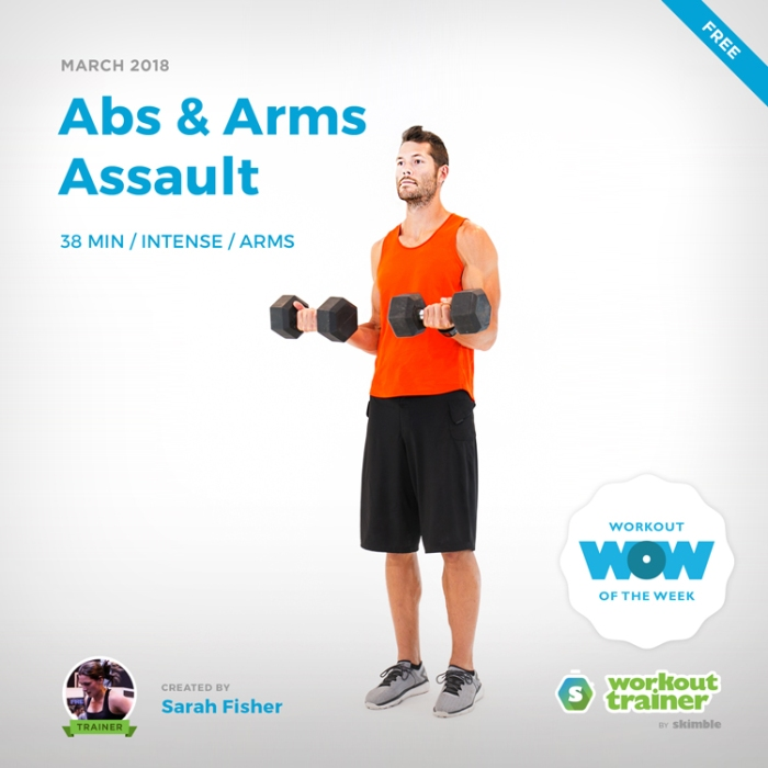 Workout Trainer by Skimble: Free Workout of the Week: Abs & Arms Assault by Sarah Fisher