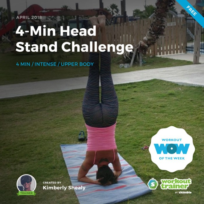Workout Trainer by Skimble: Free Workout of the Week: 4-Min Head Stand Challenge