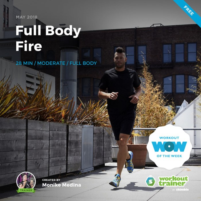 Workout Trainer by Skimble: Free Workout of the Week: Full Body Fire by Monike Medina