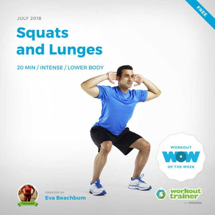 Workout Trainer by Skimble: Free Workout of the Week: Squats and Lunges by Eva Beachbum