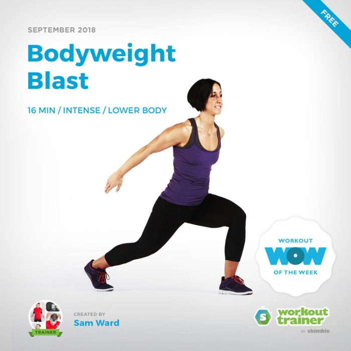 Workout Trainer by Skimble: Free Workout of the Week: Bodyweight Blast by Sam Ward
