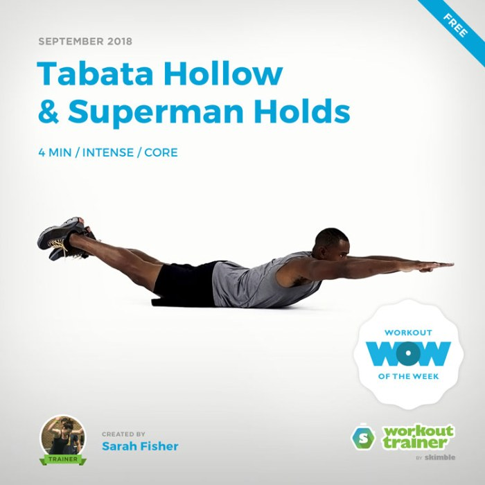 Workout Trainer by Skimble: Free Workout of the Week: Tabata Hollow and Superman Holds by Sarah Fisher