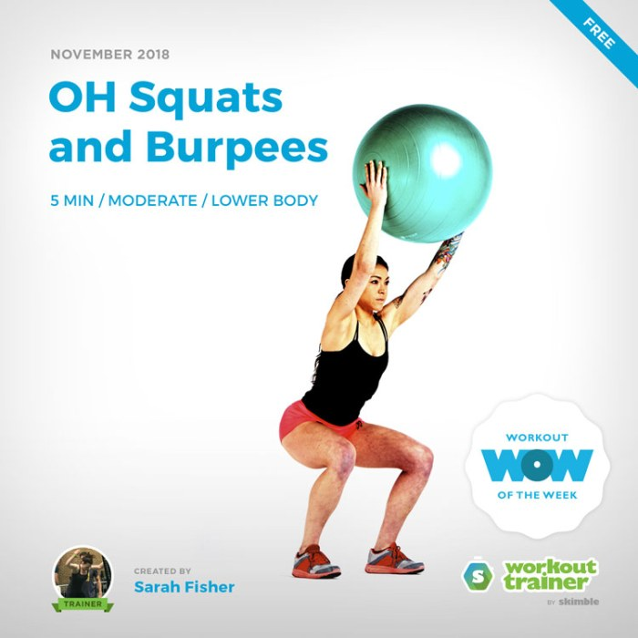Workout Trainer by Skimble: Free Workout of the Week: OH Squats and Burpees by Sarah Fisher