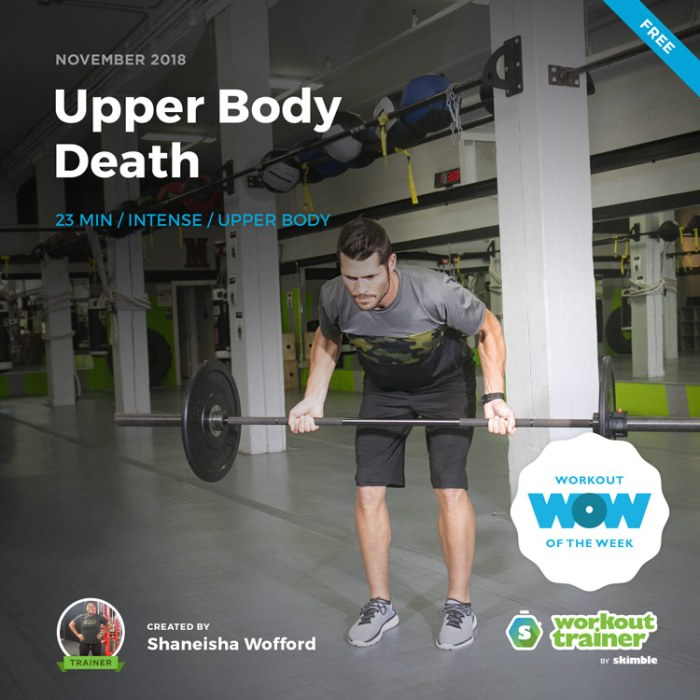 Workout Trainer by Skimble: Free Workout of the Week: Upper Body Death by Shaneisha Wofford