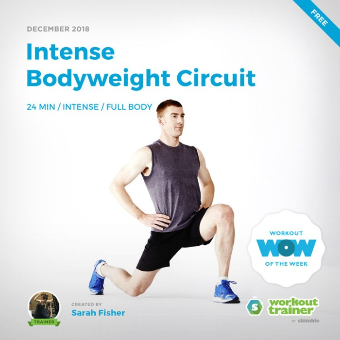 Workout Trainer by Skimble: Free Workout of the Week: Intense Bodyweight Circuit by Sarah Fisher