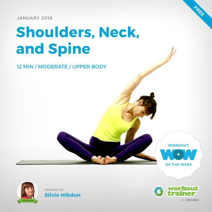 Workout Trainer by Skimble: Free Workout of the Week: Shoulders, Neck, and Spine by Silvie Hibdon