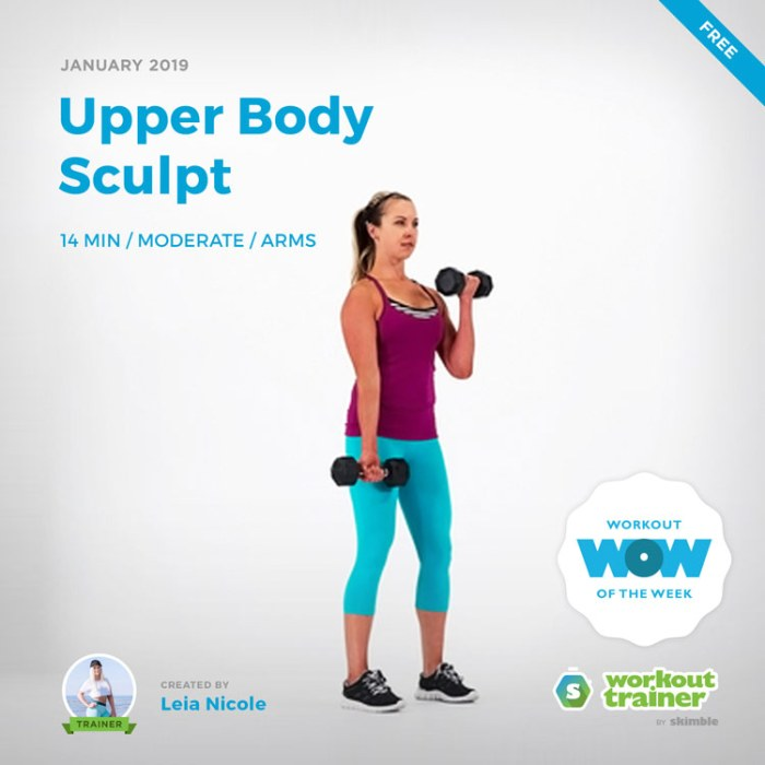 Workout Trainer by Skimble: Free Workout of the Week: Upper Body Sculpt by Leia Nicole