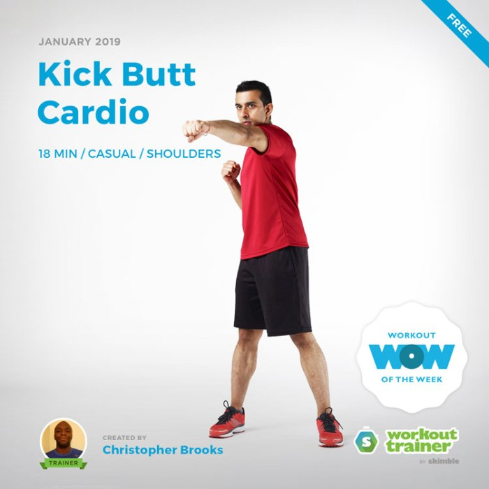 Workout Trainer by Skimble: Free Workout of the Week: Kick Butt Cardio by Christopher Brooks