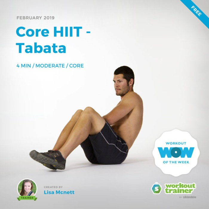 Workout Trainer by Skimble: Free Workout of the Week: Core HIIT - Tabata by Lisa Mcnett
