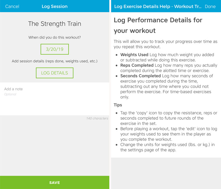 Workout Trainer by Skimble: Rockstar Workout Logging Features
