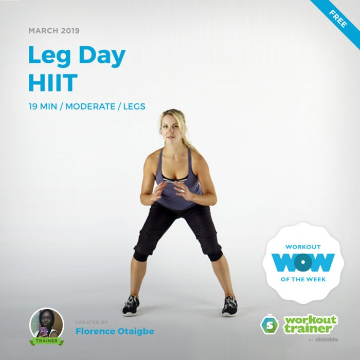 Workout Trainer by Skimble: Free Workout of the Week: Leg Day HIIT by Florence Otaigbe