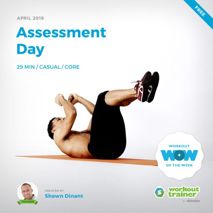 Workout Trainer by Skimble: Free Workout of the Week: Assessment Day by Shawn Dinant