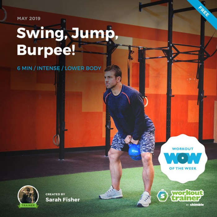 Workout Trainer by Skimble: Free Workout of the Week: Swing, Jump, Burpee! by Sarah Fisher