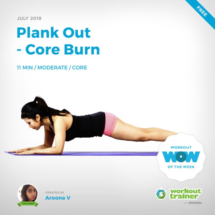 Workout Trainer by Skimble: Free Workout of the Week: Plank Out - Core Burn by Aroona V
