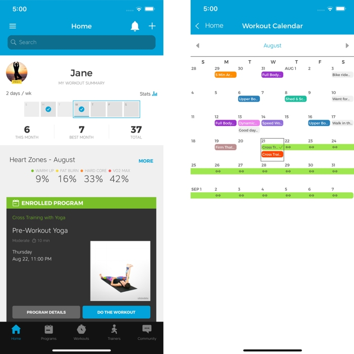 Workout Trainer by Skimble: Calendar Features and Scheduling
