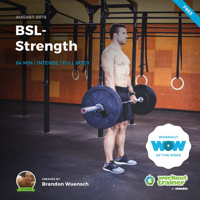 Workout Trainer by Skimble: Free Workout of the Week: BSL-Strength by Brandon Wuensch