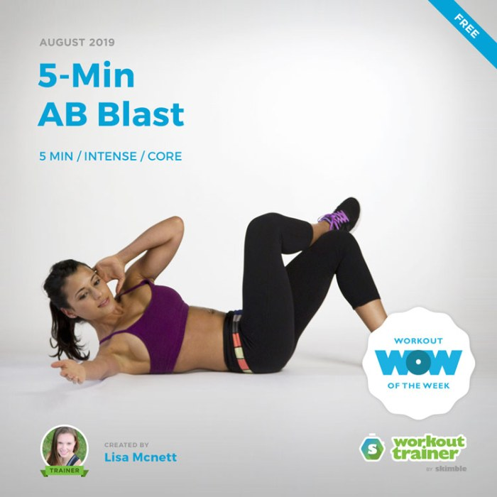 Workout Trainer by Skimble: Free Workout of the Week: 5-Min AB Blast by Lisa Mcnett