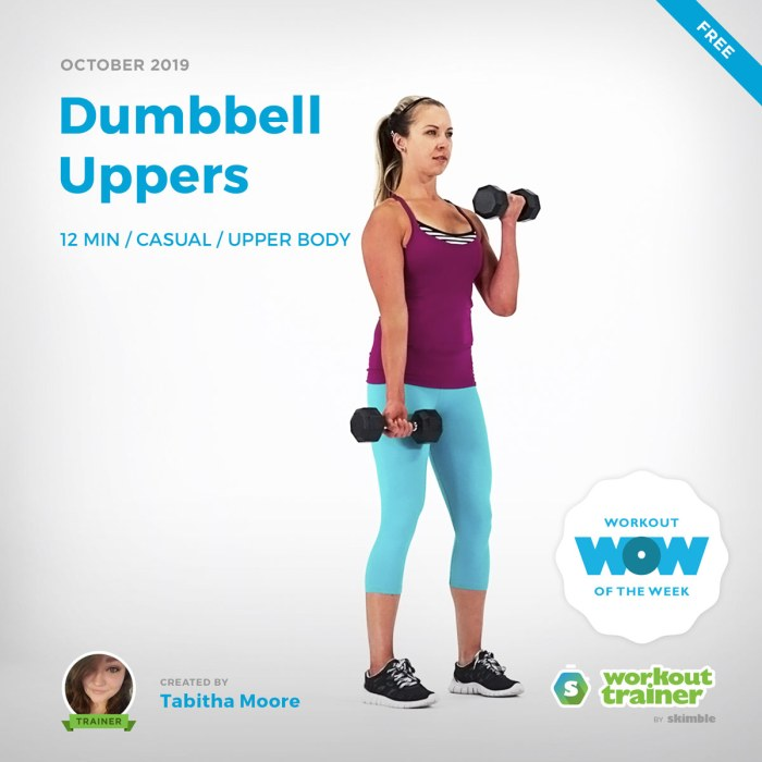 Workout Trainer by Skimble: Free Workout of the Week: Dumbbell Uppers by Tabitha Moore