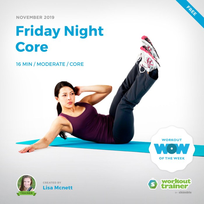 Workout Trainer by Skimble: Free Workout of the Week: Friday Night Core by Lisa Mcnett