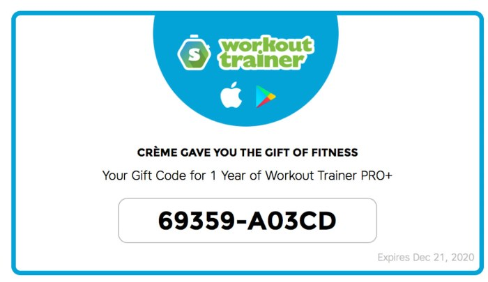 Workout Trainer by Skimble: New Year Special: PRO+ Gift Cards