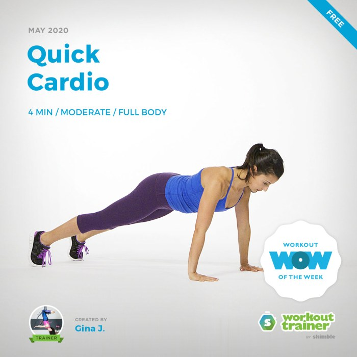 Workout Trainer by Skimble: Free Workout of the Week: Quick Cardio by Gina J.