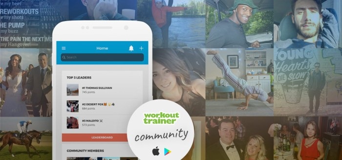 Workout Trainer community members competing on the in-app Leaderboard