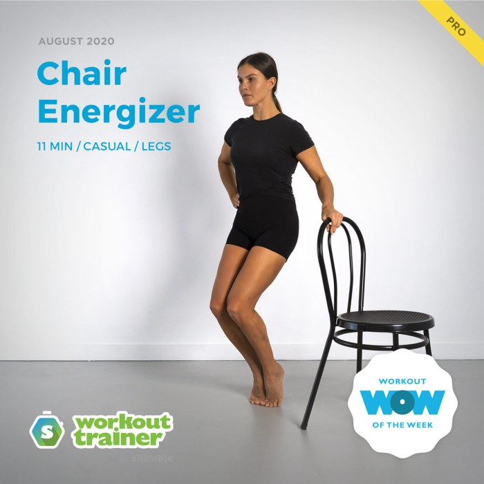 Female Trainer performing High Heel Parallels exercise with help of chair
