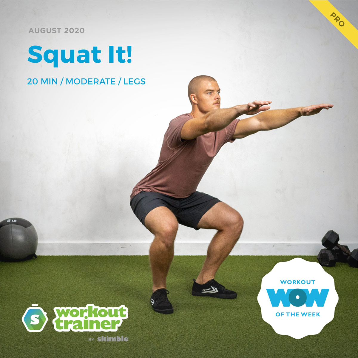Male Trainer performing a Pulse Squat exercise