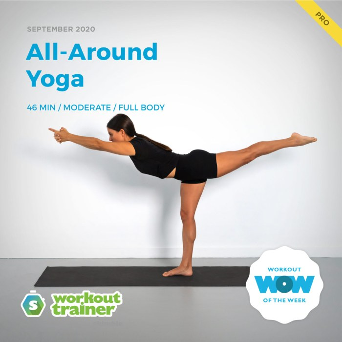 Female Yoga Instructor demonstrating Balancing Stick pose on yoga mat