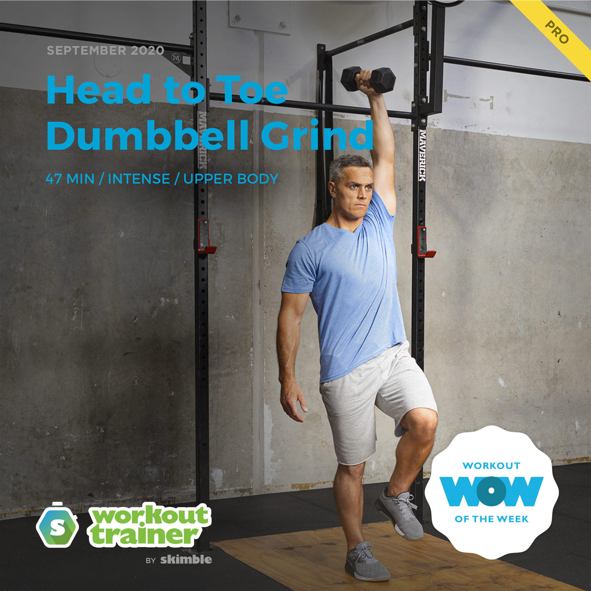 Male CrossFit Trainer performing Dumbbell Single Leg Curl to Press exercise