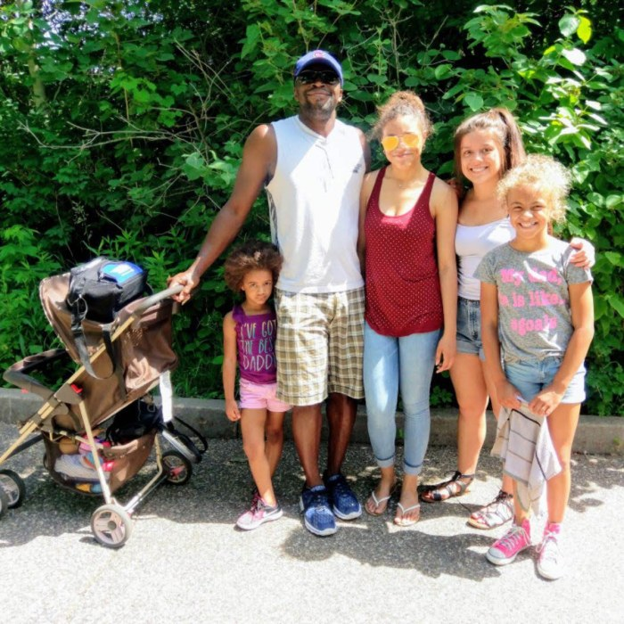 Personal Trainer Christopher Brooks with his family in Toledo, Ohio
