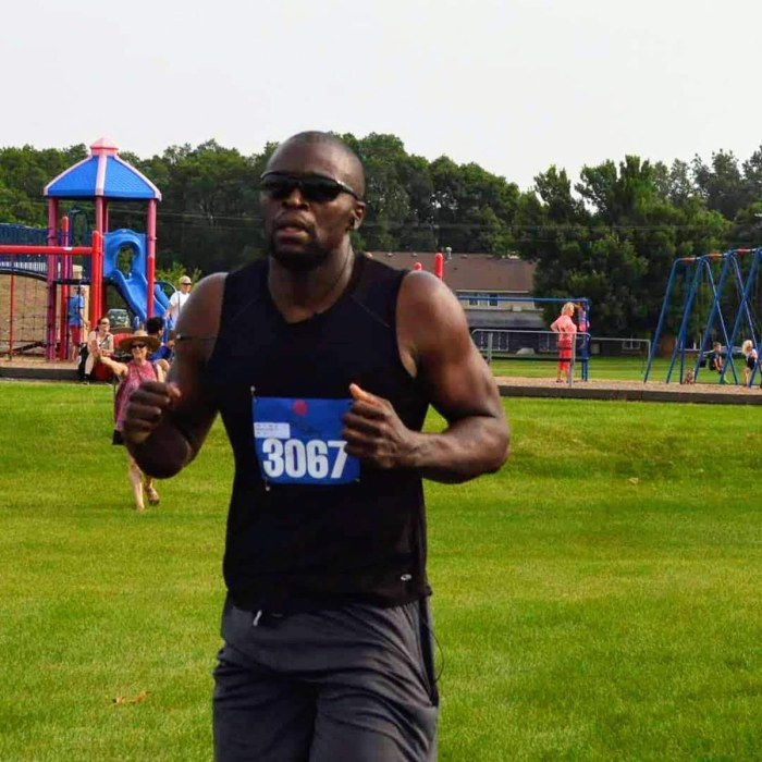 Christopher Brooks keeping fit by running in a local Toledo, Ohio race