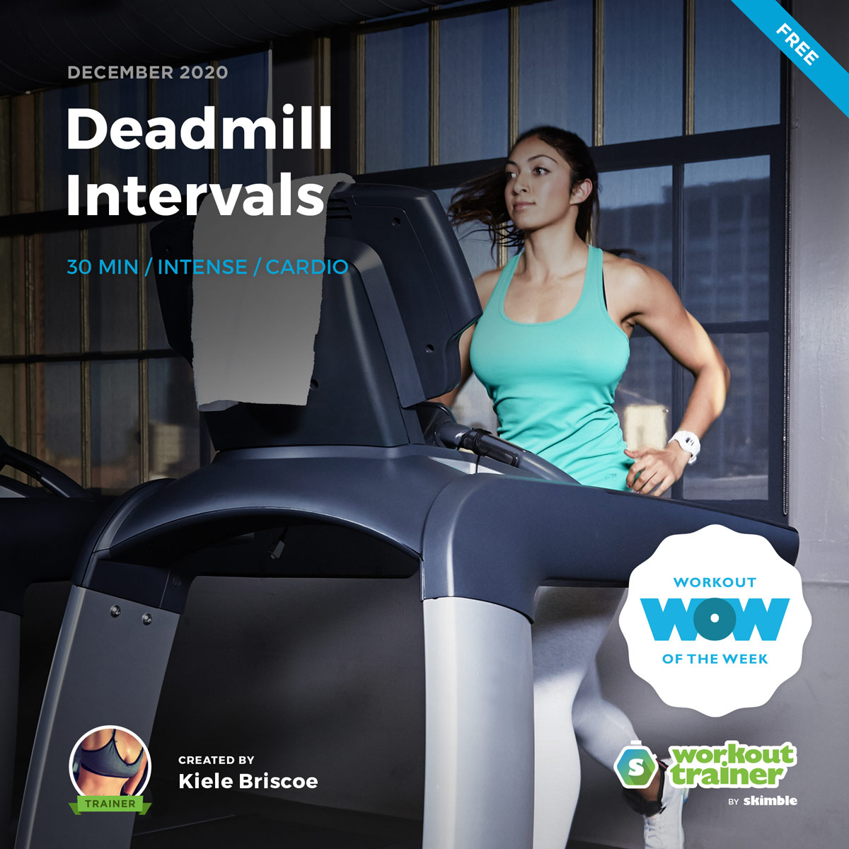 Female Running Coach practicing intervals on a treadmill