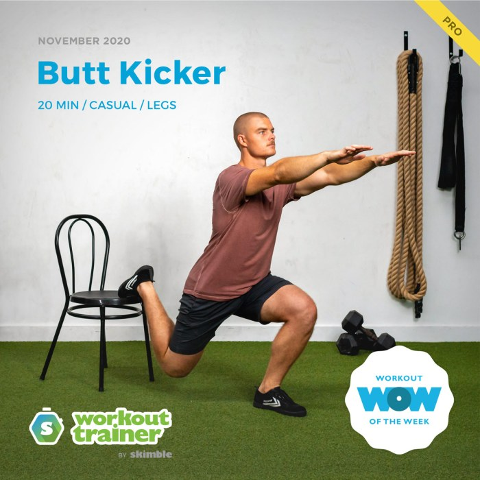 Male Personal Trainer demonstrating Bulgarian Split Squats with chair