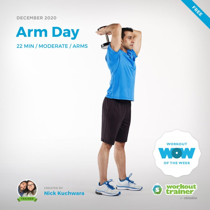Male Fitness Instructor doing Tricep Extensions with a Dumbbell