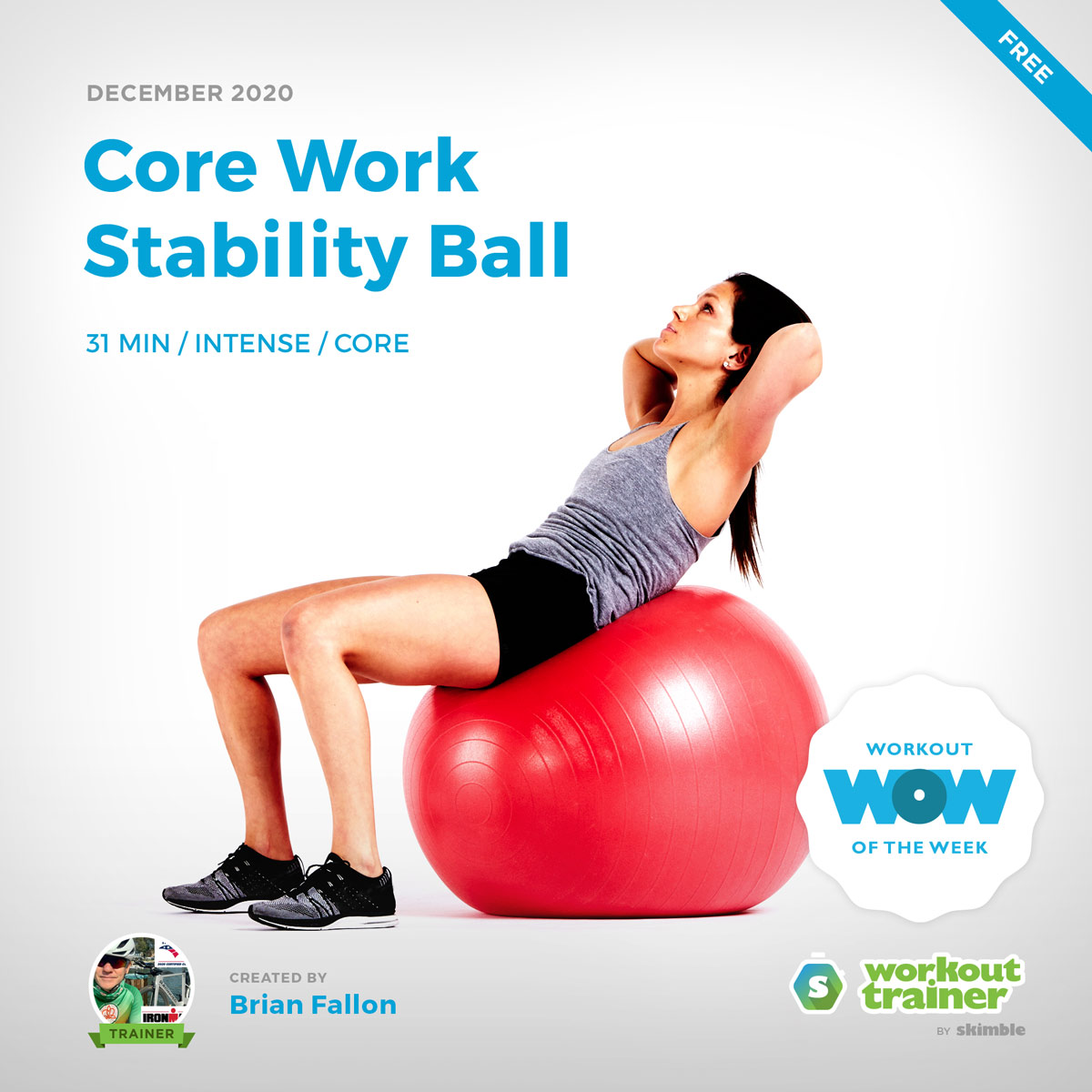 Female Fitness Instructor doing Ball Crunches on Stability Ball