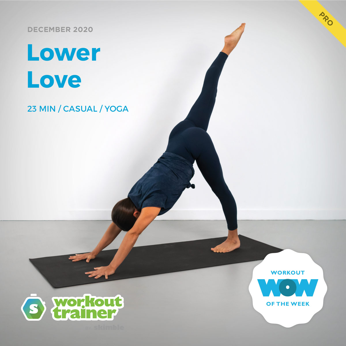 Female Yoga Instructor demonstrating Downward Dog with Right Leg Raise pose