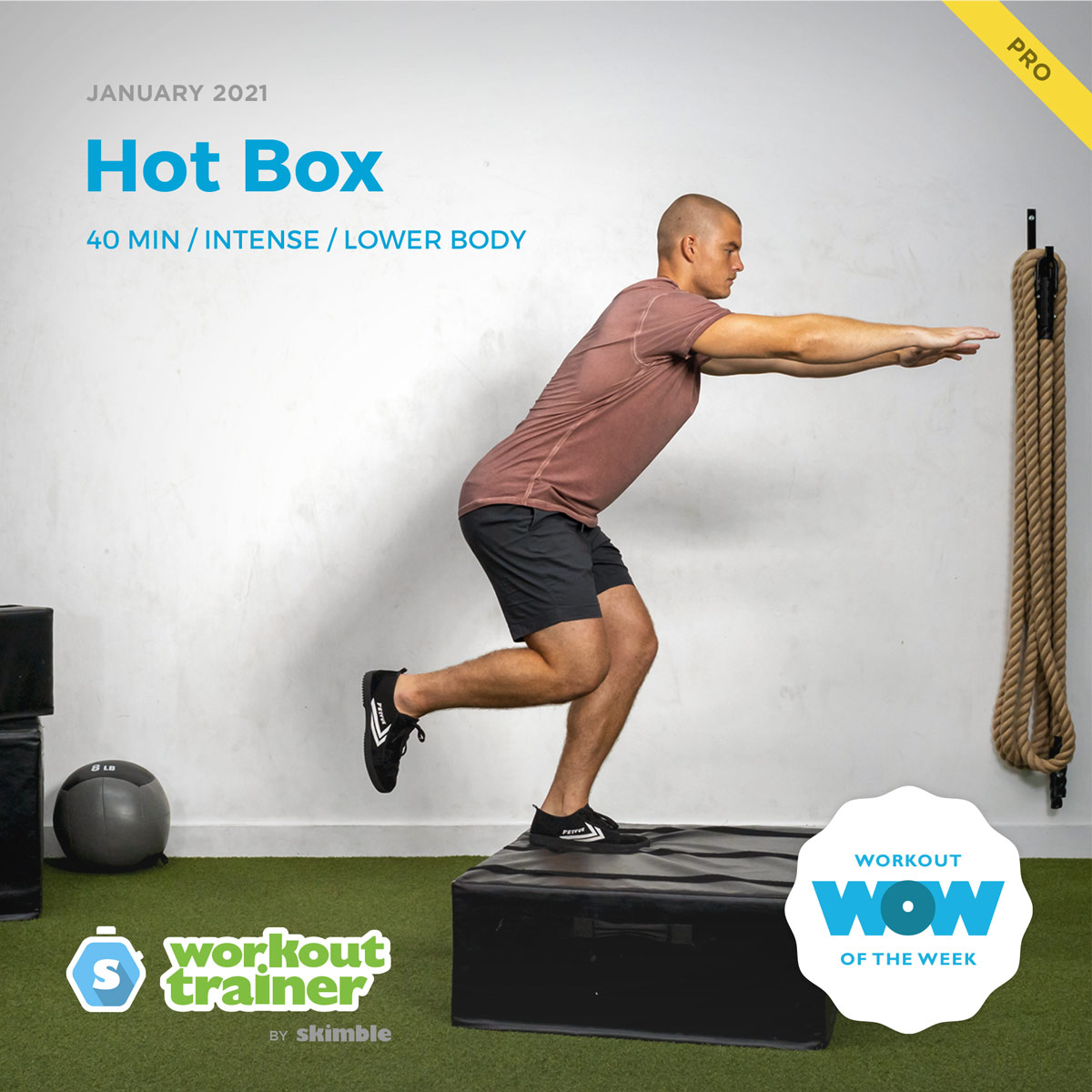 Male Personal Trainer demonstrating how to do Left Leg Box Jumps in a gym
