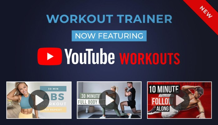 Play long-form YouTube Video Workouts using the Workout Trainer app