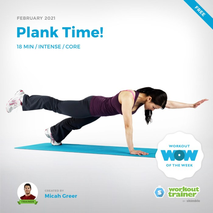 Female Fitness Instructor showing students how to do Plank Bird Dog on mat