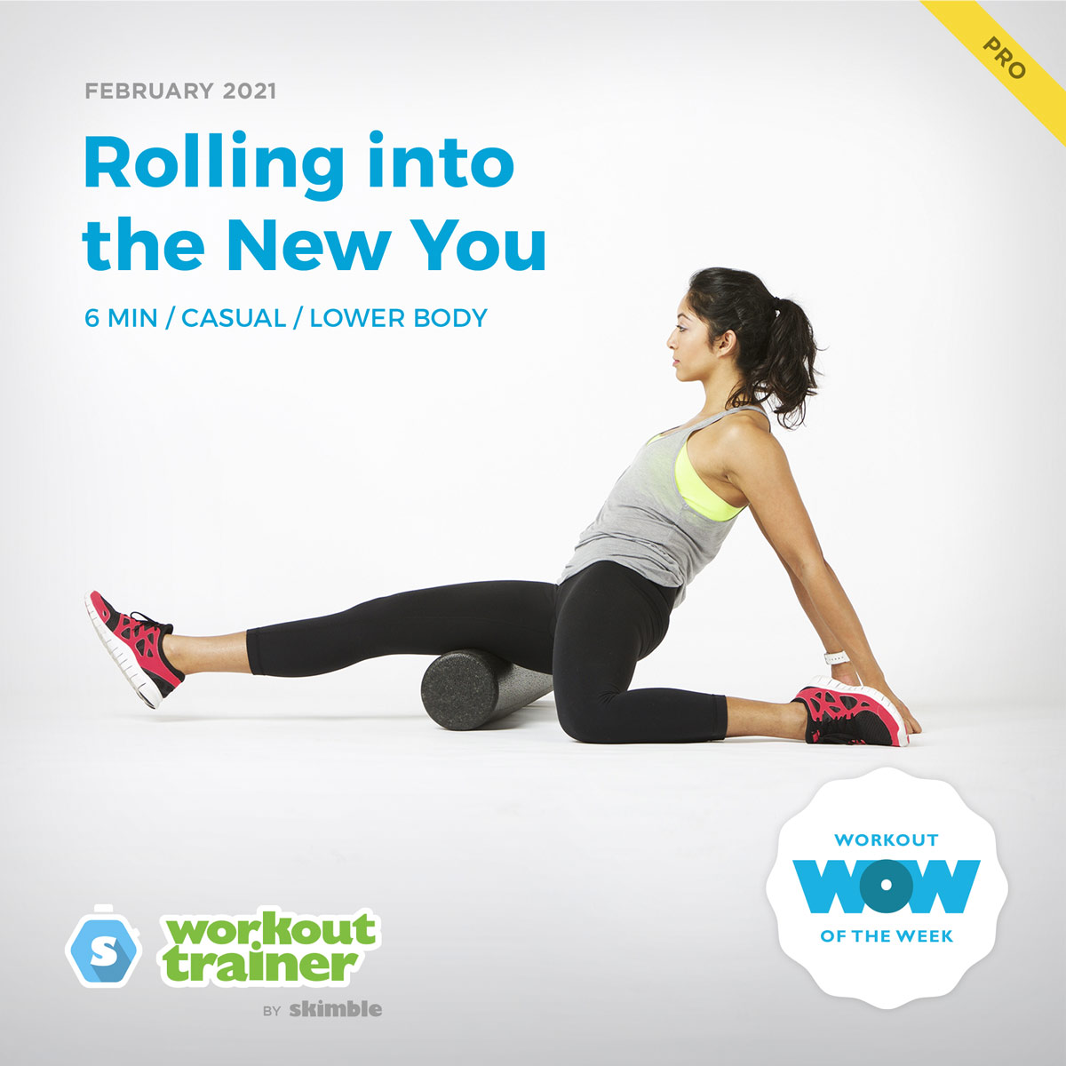 Female Fitness Instructor stretching legs on a foam roller